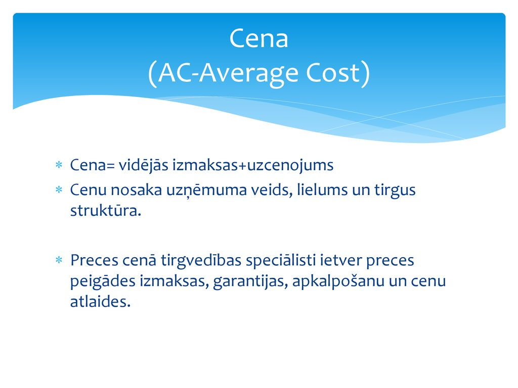 Cena (AC-Average Cost)